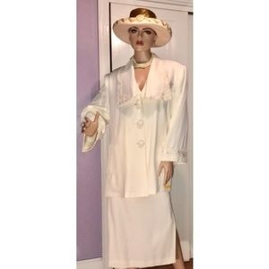 VINTAGE NWT RAFAEL LADIES OFF-WHITE SKIRT SUIT 18